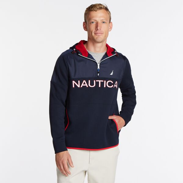 COLORBLOCK MIXED MEDIA QUARTER-ZIP HOODIE - Navy