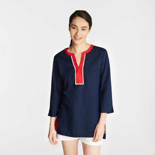 LINEN TUNIC TOP IN CONTRAST TRIM,Stellar Blue Heather,large