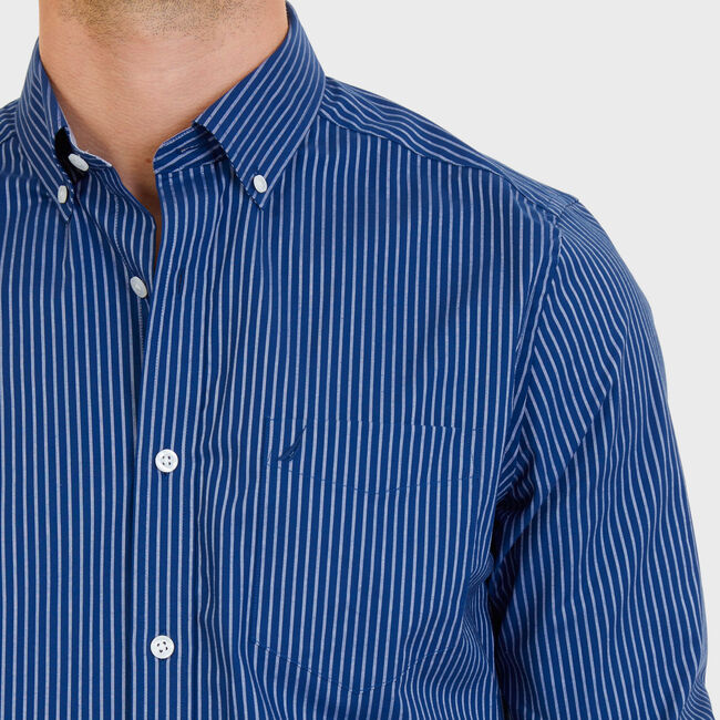Classic Fit Wrinkle Resistant Stretch Cotton Striped Shirt,Estate Blue,large