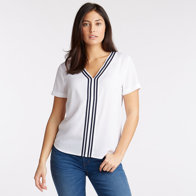 Stripe Trim Crepe Blouse,Bright White,large