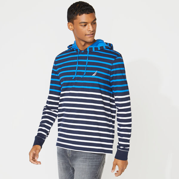 STRIPED T-SHIRT HOODIE - Navy