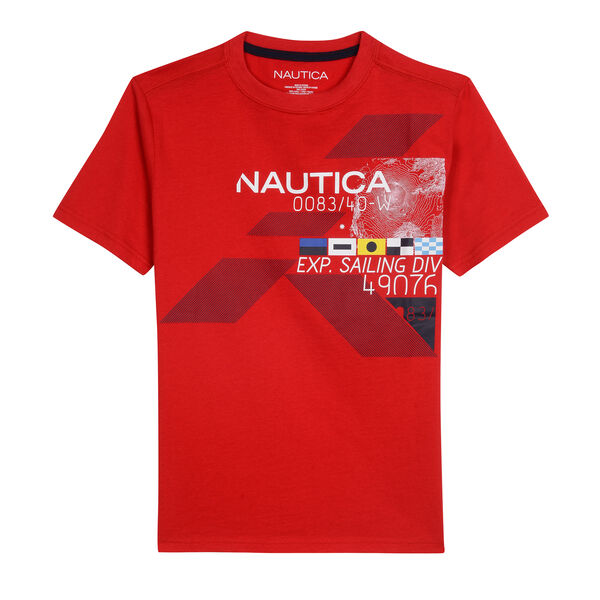 BOYS' NEWPORT JERSEY T-SHIRT SAILING GRAPHIC - Island Pink