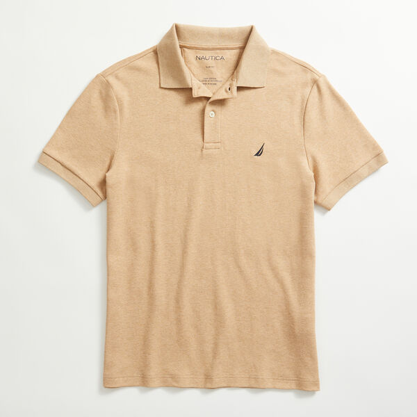 SLIM FIT INTERLOCK POLO - Camel Heather