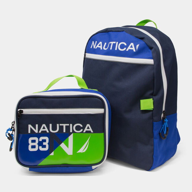 COLORBLOCK LOGO BACKPACK WITH LUNCH BAG,Snow Heather,large