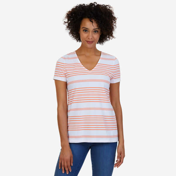 V-Neck Striped Top - Orange Sunset