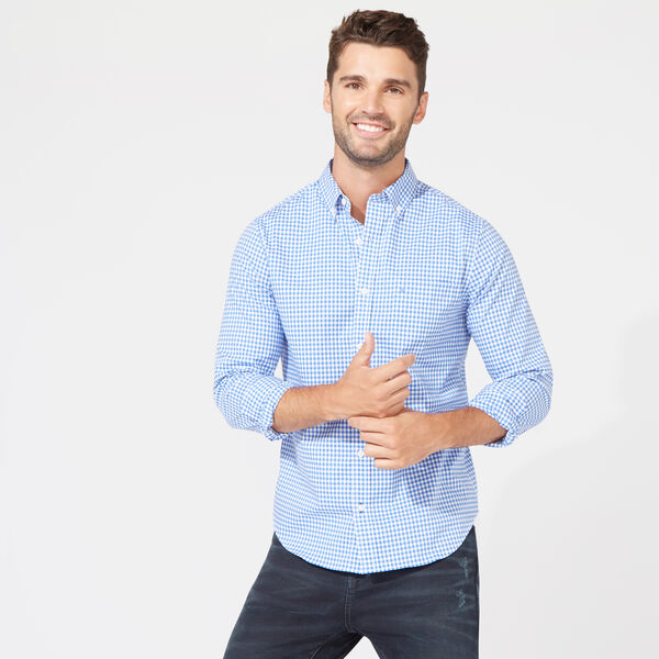 Wrinkle-Resistant Slim Fit Shirt in Plaid - French Blue
