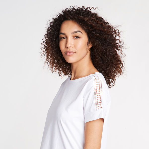 CROCHET & JERSEY TEE - Bright White