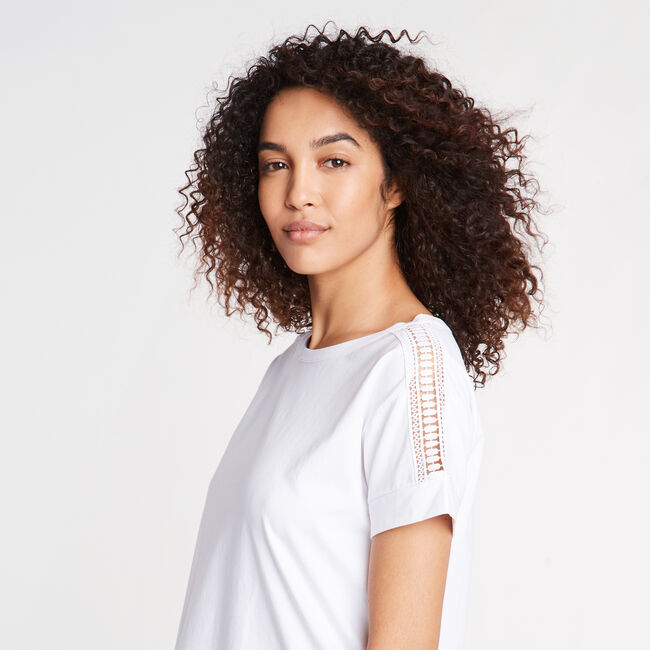 CROCHET & JERSEY TEE,Bright White,large