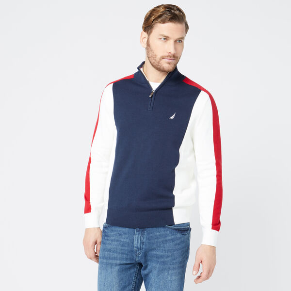 COLORBLOCK QUARTER-ZIP SWEATER - Pure Dark Pacific Wash