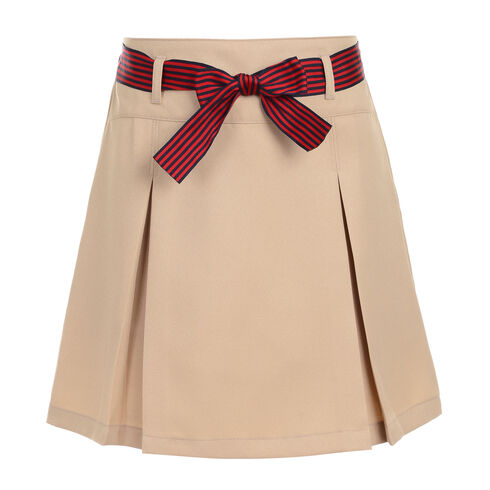 Girls' Pleated Skort with Striped Bow (7-16) - Tavern