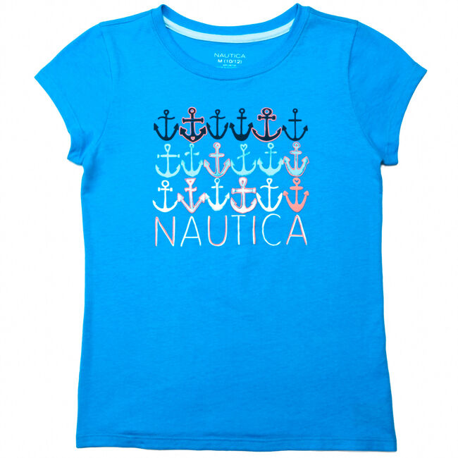 Girls' Anchors Tee (8-16),Double Navy,large
