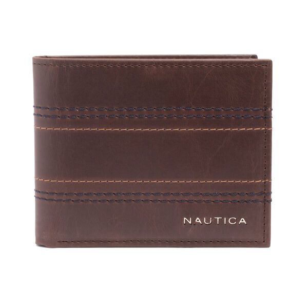 EMBROIDERED LEATHER SLIMFOLD WALLET - Brown Stone