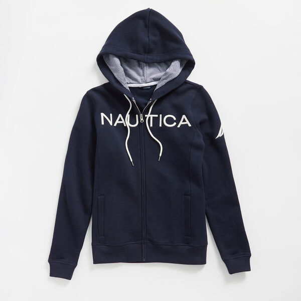 LOGO FULL-ZIP HOODIE - Stellar Blue Heather