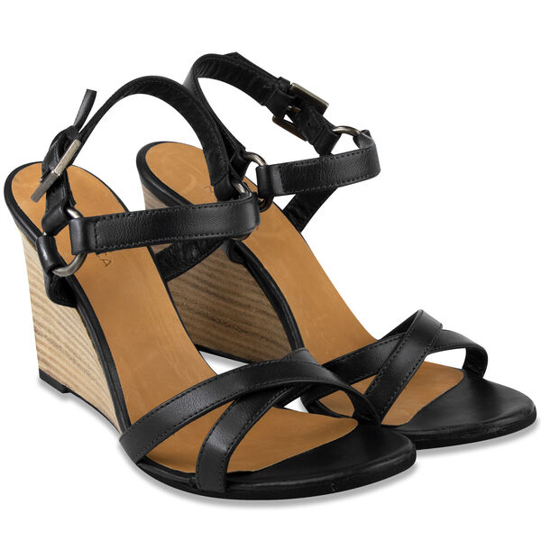 Isabella Strappy Leather Wedge - True Black