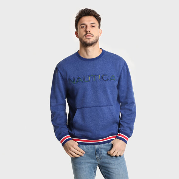 Big & Tall Logo Crewneck Fleece Pullover - Blue Depths