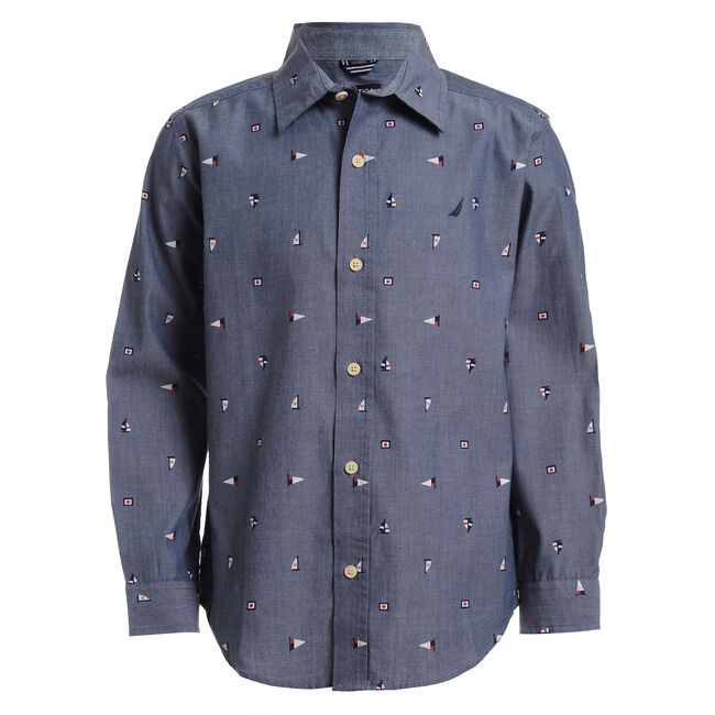 BOY'S PRINTED CHAMBRAY BUTTON DOWN SHIRT (4 -7),Angel Blue,large