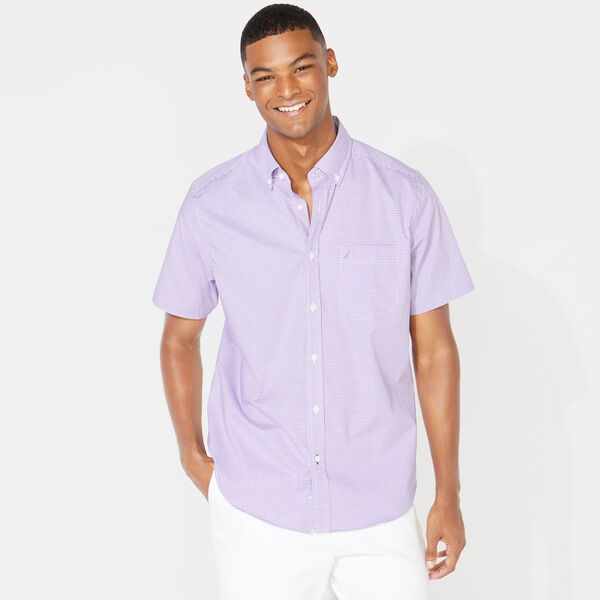 Wrinkle-Resistant Short Sleeve Classic Fit Shirt in Gingham - Ocean Violet