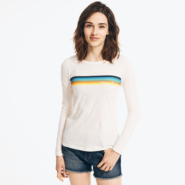 OMBRE STRIPED LONG SLEEVE T-SHIRT - Marshmallow
