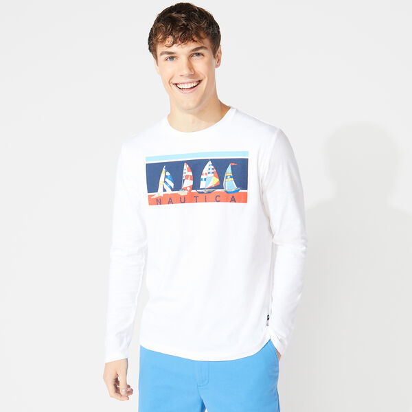 SAILBOAT GRAPHIC LONG SLEEVE T-SHIRT - Bright White