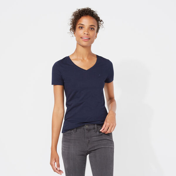 SOLID V-NECK TEE - Stellar Blue Heather