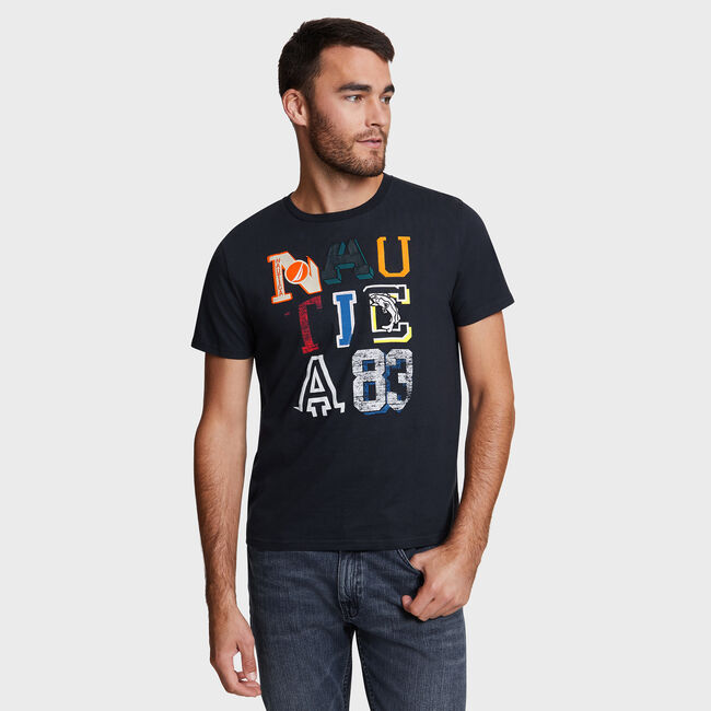 Mixed Patch Letters Crewneck T-Shirt,True Navy,large