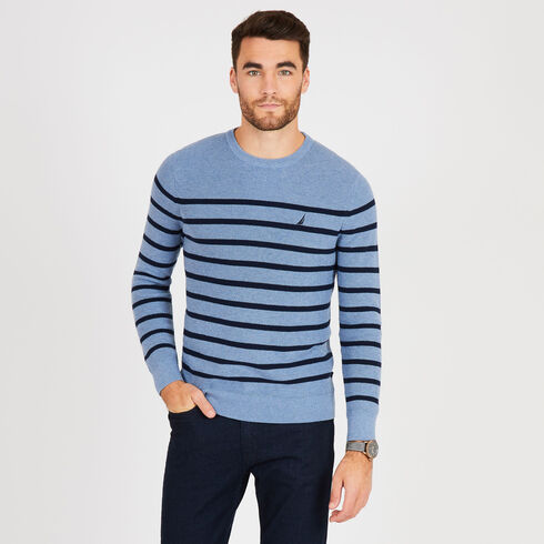 Navtech Breton Stripe Crewneck Sweater - Gulf Coast Blue