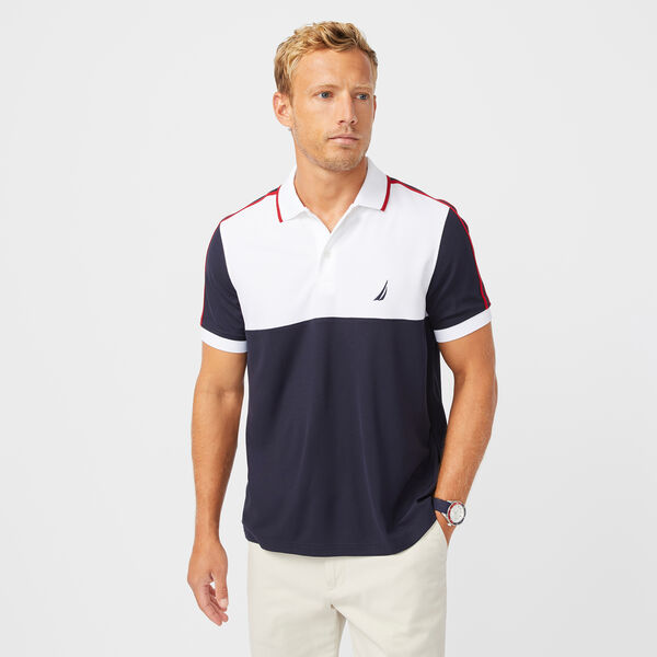 SUSTAINABLY CRAFTED COLORBLOCK POLO - Bright White