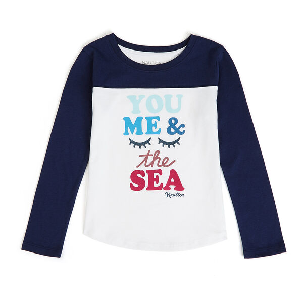 Little Girls' You Me And The Sea Graphic Tee (4-6X) - Navy