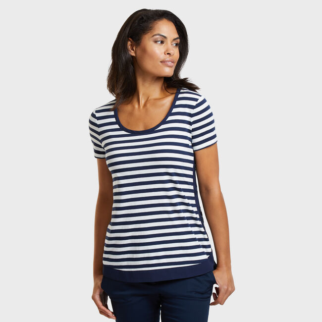 High-Low Short Sleeve Striped Top,Stellar Blue Heather,large