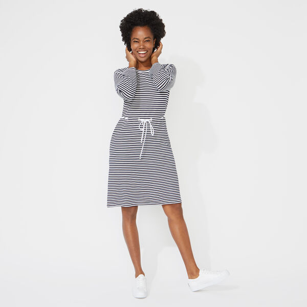 STRIPED ROPE TIE DRESS - Bright White