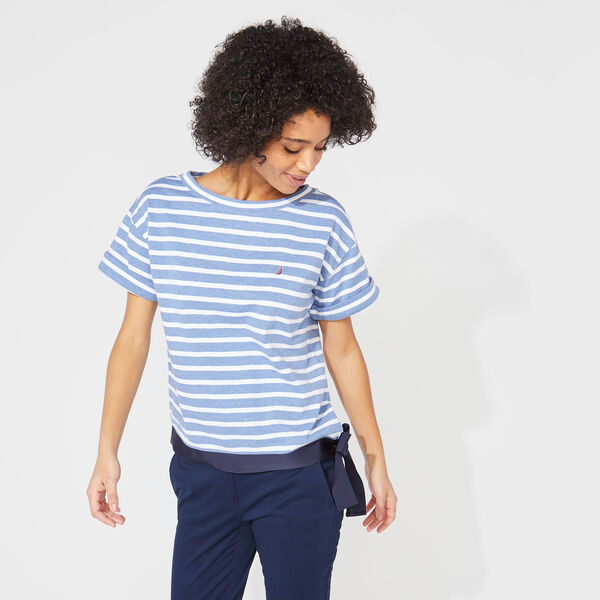 STRIPED TIE WAIST KNIT TOP - Aquabreeze