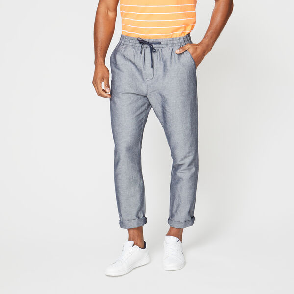 CLASSIC FIT DRAWSTRING LINEN PANT - Stellar Blue Heather