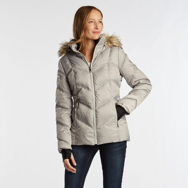 QUILTED PUFFER COAT - Haze Grey Heather