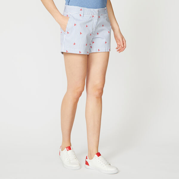 STRIPED LOBSTER PRINT SHORTS - Bright White