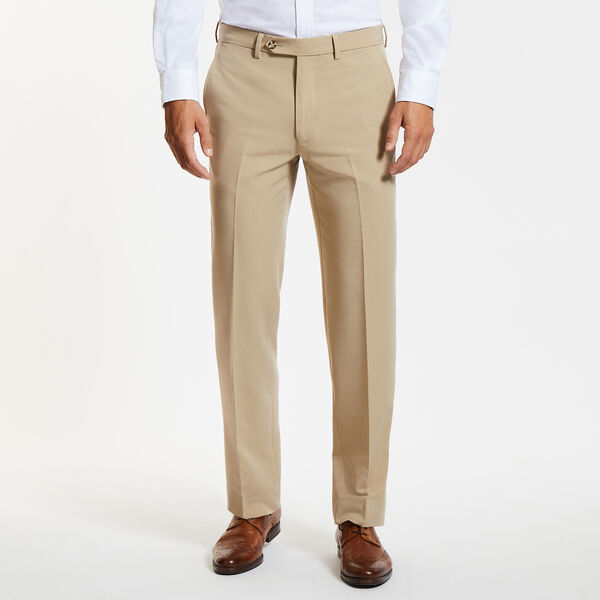 Flat Front Bi-Stretch Dress Pants - Khaki