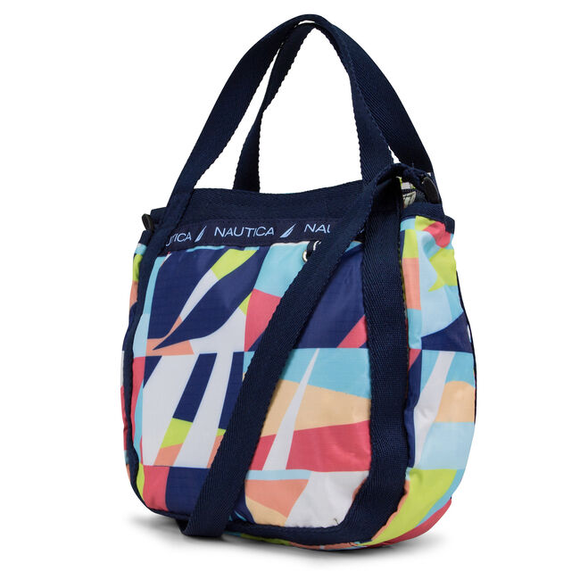 Captain's Quarters Mini Abstract Crossbody,Navy,large