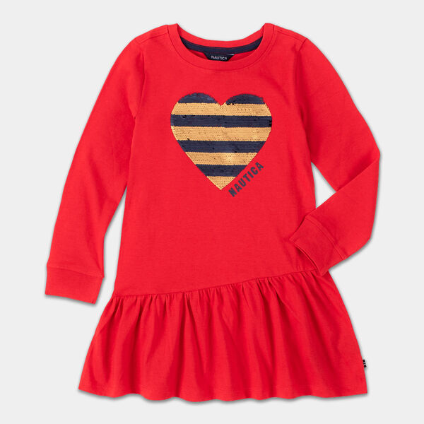 GIRLS' SEQUIN HEART DRESS (8-20) - Royal Burgundy