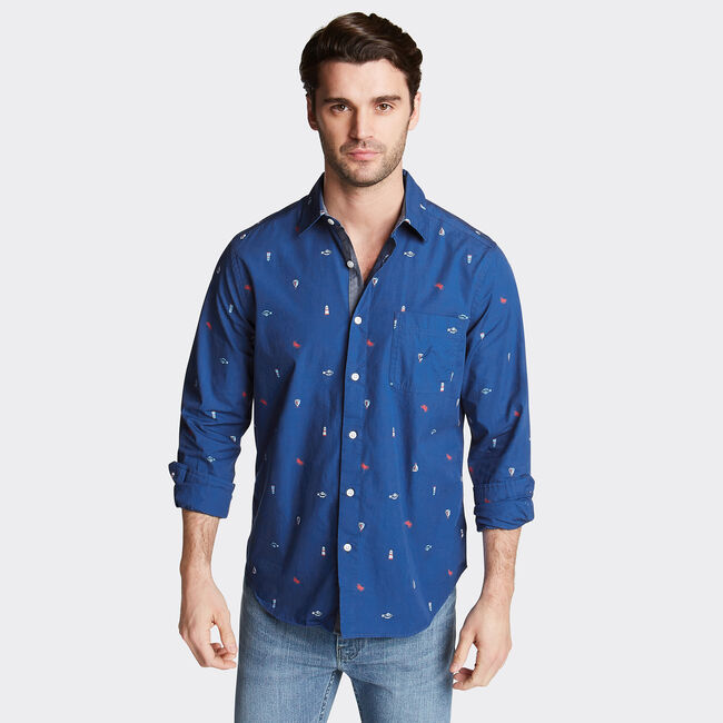 CLASSIC FIT POPLIN SHIRT IN PRINT,Limoges,large
