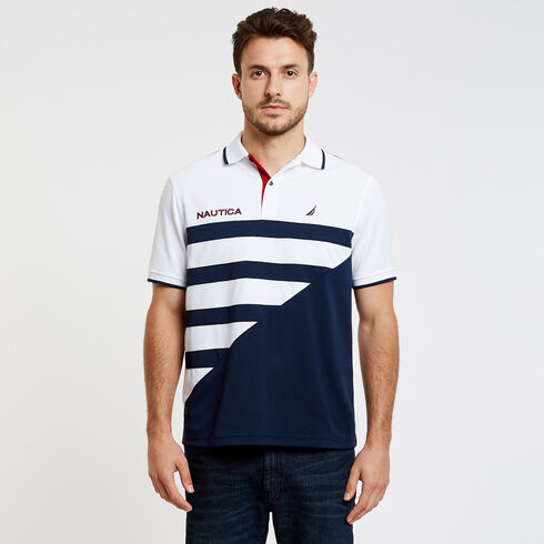 Colorblock + Stripe Classic Fit Short Sleeve Polo - Bright White