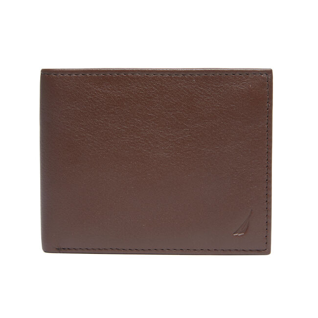Pebbled Leather Embroidered J-Class Passcase,Brown Stone,large