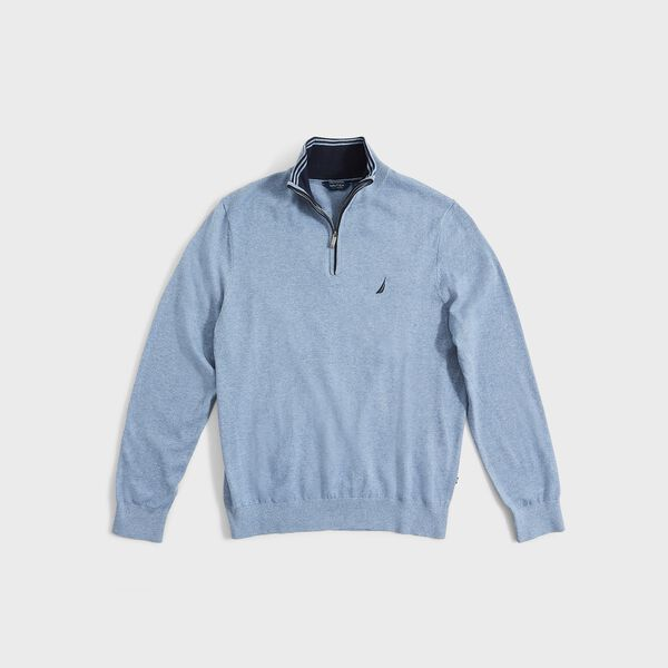 BIG & TALL NAVTECH QUARTER-ZIP SWEATER - Anchor Blue Heather