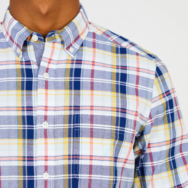 Madras Plaid Classic Fit Button Down,Starlight Blue,large