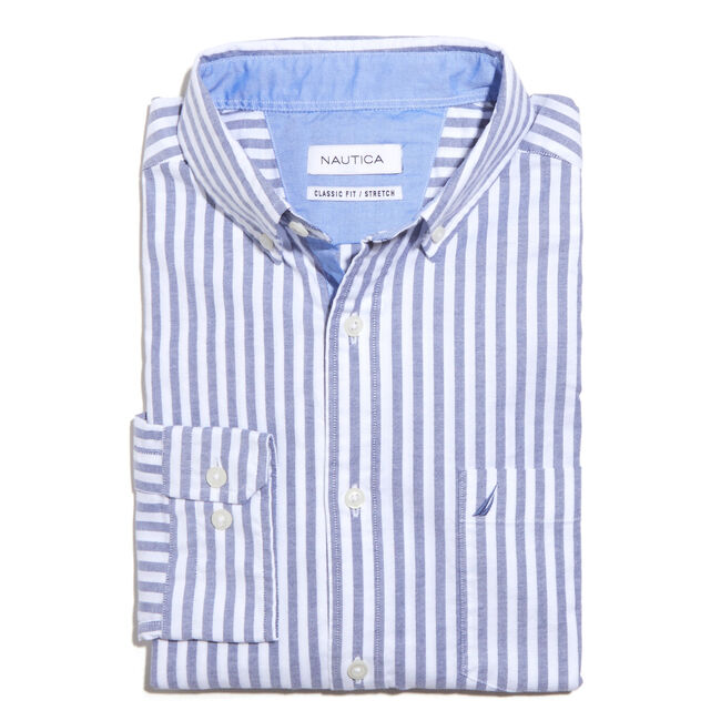 Long Sleeve Classic Fit Oxford Striped Shirt,Blue Depths,large