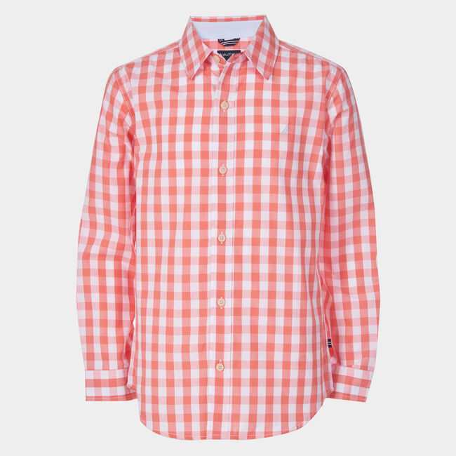 TODDLER BOYS' SKYLAR GINGHAM WOVEN SHIRT (2T-4T),Indian Summer,large