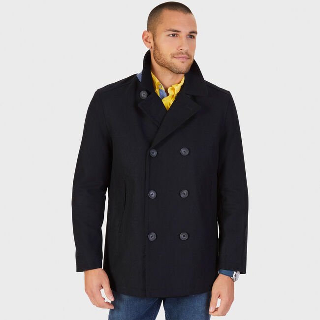 Double-Breasted Wool Blend Peacoat,True Black,large