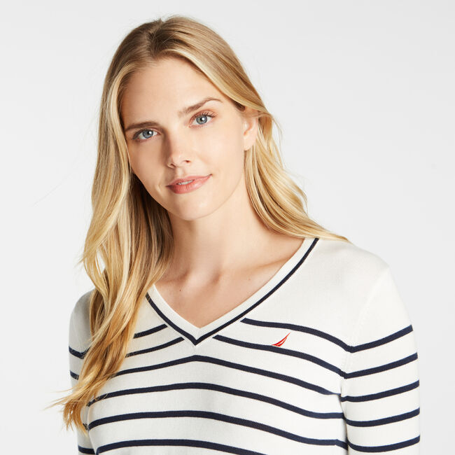 STRIPE V-NECK SWEATER,Marshmallow,large
