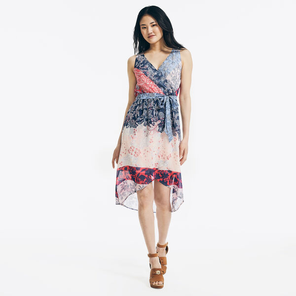 FLORAL-PRINTED CHIFFON WRAP DRESS - Nautica Blue