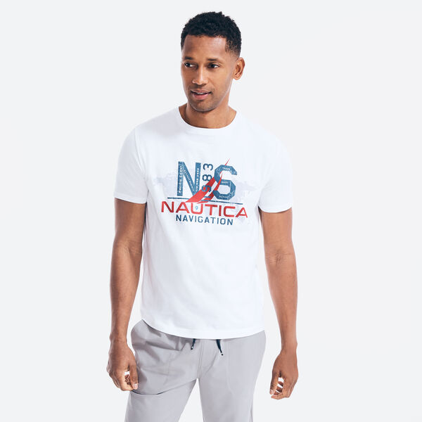 MAP NAVIGATION GRAPHIC T-SHIRT - Bright White