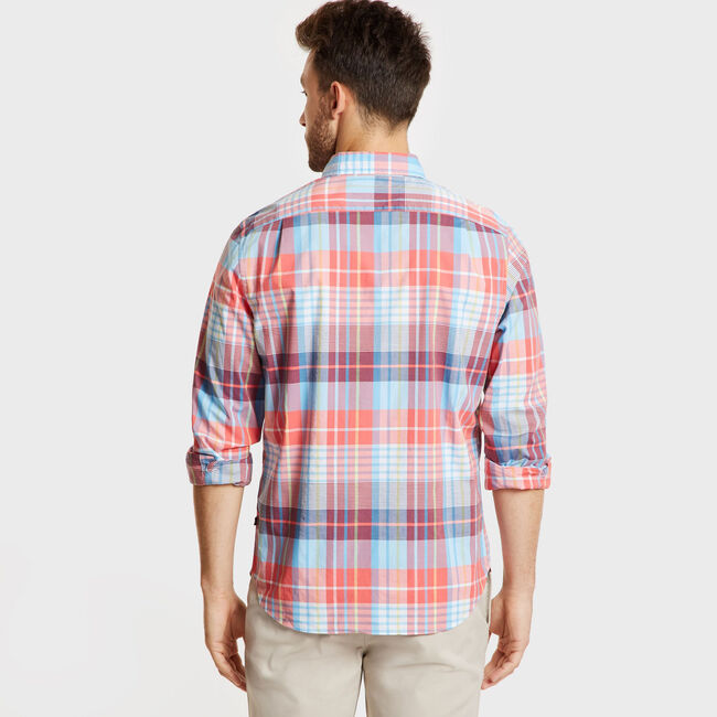 Classic Fit Long Sleeve Shirt in Casual Plaid,Spiced Coral,large