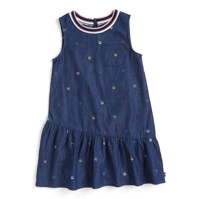 Toddler Girls' Dotted Chambray Sleeveless Dress (2T-4T),South Beach Aqua,large